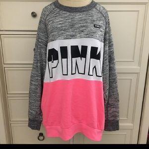 Victoria's Secret Pink Gray Black White Sweater L
